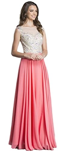 Meier Women's Sleeveless Illusion Back Rhinestone Formal Evening Dress