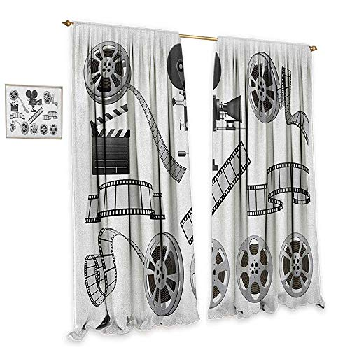 """cobeDecor Movie Theater Blackout Curtains Movie Industry Themed Greyscale Illustration of Projector Film Slate and Reel Home Garden Bedroom Outdoor Indoor Wall Decorations 72"""" Wx84 L Grey Black from cobeDecor"""