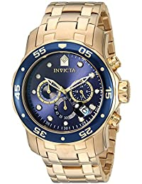 Men's 0073 Pro Diver Collection Chronograph 18k Gold-Plated Watch with Link Bracelet