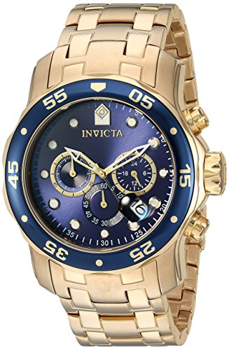 Invicta Men's 0073 Pro Diver Collection Chronograph 18k Gold-Plated Watch with Link Bracelet ()