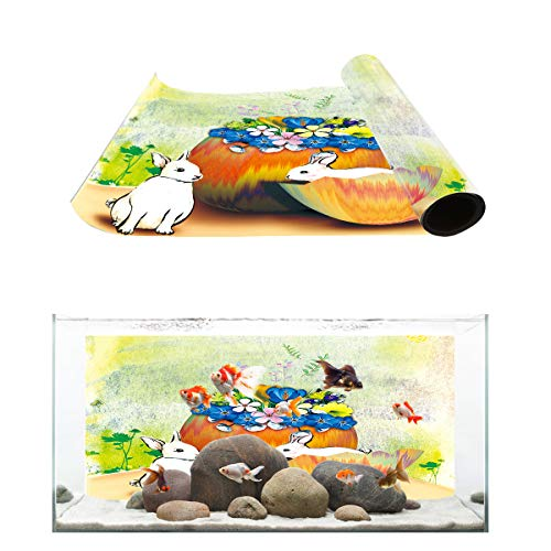 (Fantasy Star Aquarium Background Hand Painted Style 2 Rabbits Eggshell Flower Fish Tank Wallpaper Easy to Apply and Remove PVC Sticker Pictures Poster Background Decoration 24.4