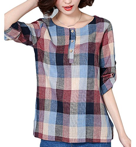 (Collocation-Online Womens Cuffed Long Sleeve Shirt Crew Neck Botton Blouse Plaid Print Bodycon Blouse,X-Large/US12-14,Red)