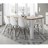 Table style scandinave LIER - blanc et bois