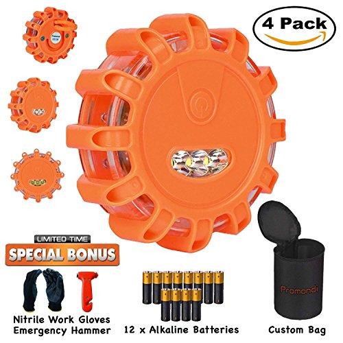 LED Road Safety Flare Set | Vehicle Emergency Light Disc Kit | Roadside Flashing Warning Flares Beacon Discs | Magnetic Lights for Car or Marine Boat | Bag and Batteries | Hammer and Gloves | 4 Pack |