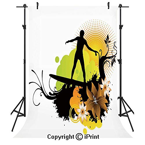 Hawaiian Decorations Photography Backdrops,Surf Design Athlete Youth Culture Sea Water Sports Waves Joy Under Sun,Birthday Party Seamless Photo Studio Booth Background Banner 3x5ft, ()