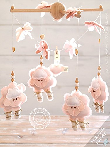 Baby Mobile Hanging, Pink Nursery Decor, Baby Crib Mobile Sheep, 2-DAY FEDEX DELIVERY to USA, Canada, Europe & Others by Lolly Cloth