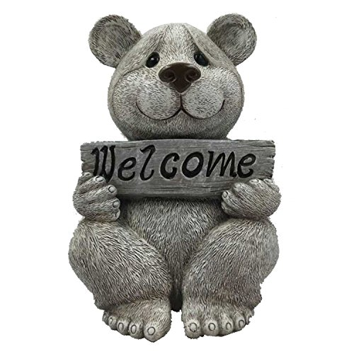 (Pudgy Pals Roman Garden Figure, 92464, Bear with Welcome Sign, 7.5 Inches)