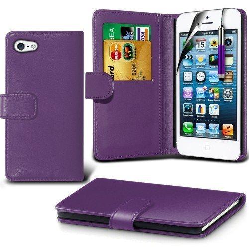 Apple iPhone 5/ 5s Cubierta del caso con cuero (Púrpura) Plus de regalo libre, Protector de pantalla y un lápiz óptico, Solicitar ahora mejor caja del teléfono Valorado en Amazon! By FinestPhoneCases