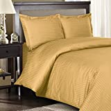 Full / Queen / Olympic Queen Solid Goose Down Comforter [600FP, 50oz] with 600 Thread Natural Combed Cotton - Striped Damask Cover - Gold