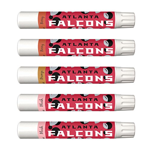 - 10% OFF—Atlanta Falcons 5-Piece Shimmer Lip Balm Set. 3 Different Shades—Add That Pop of Color: Blush, Bronze, Berry. NFL Gifts and Gear for Women.