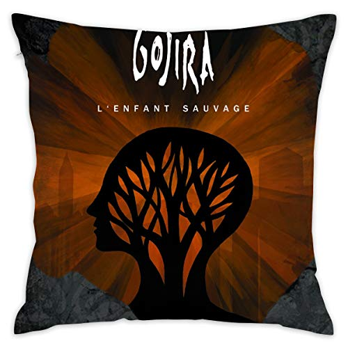 TERESAWATKINS Gojira L'Enfant Sauvage Cotton Square Throw Pillow Cases Decorative Cushion Covers 18 X 18 Inch