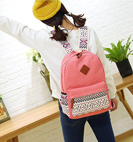 26beaba158a4 HONEYJOY Canvas Backpack Set 3 Pieces Kids Book Bag School Backpack Handbag  Purse Girls Teen (