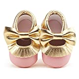 Delebao Infant Toddler Baby Soft Sole Tassel Bowknot Moccasinss Crib Shoes (12-18 Months, Pink & Gold)