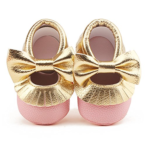 Delebao Infant Toddler Baby Soft Sole Tassel Bowknot Moccasinss Crib Shoes (12-18 Months, Pink & Gold) ()