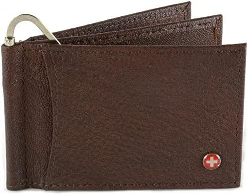 Alpine Swiss Mens Deluxe Leather Money Clip Spring Front Pocket Wallet Brown