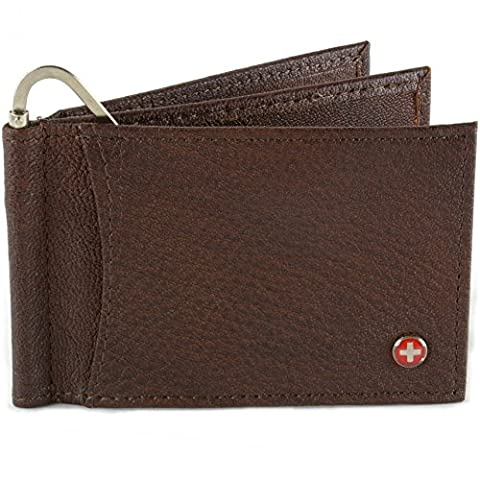 Alpine Swiss Mens Deluxe Leather Money Clip Spring Front Pocket Wallet Brown (Swiss Alpine Trifold Wallet)
