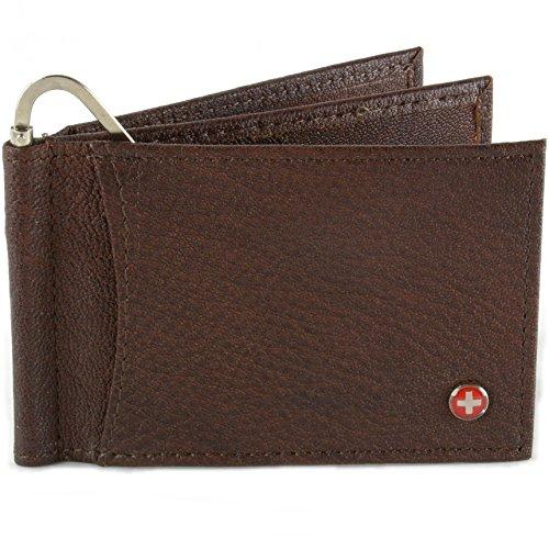 Alpine Swiss Mens Deluxe Leather Money Clip Spring Front Pocket Wallet (Mens Deluxe Front Pocket Wallet)