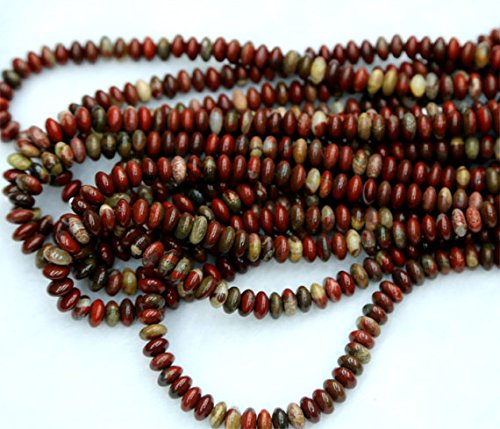 1 Strands Natural Red Silver Leaf Jasper Rondelle Loose Beads Fit Jewelry Necklace Bracelets 4x8mm 15