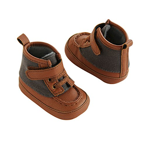 Tan Wool Boots - Carter's Boys' Baby Soft Sole Duck Grey/Tan Fashion Boot, Grey Wool/Tan Polyurethane Leather, 0-3 Months Regular US Infant