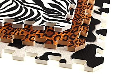 IncStores Designer Animal Print Foam Tiles 3' x 3' (6 Pack, 54 Sqft) For College Dorms, Kids Bedrooms, Daycares And Much More