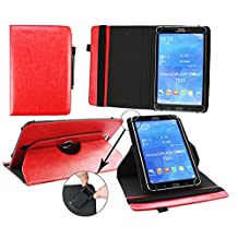 Emartbuy® Kobo Aura H20 6.8 Inch eReader Universal ( 7 - 8 Inch ) Red Premium PU Leather 360 Degree Rotating Stand Folio Wallet Case Cover + Red Stylus