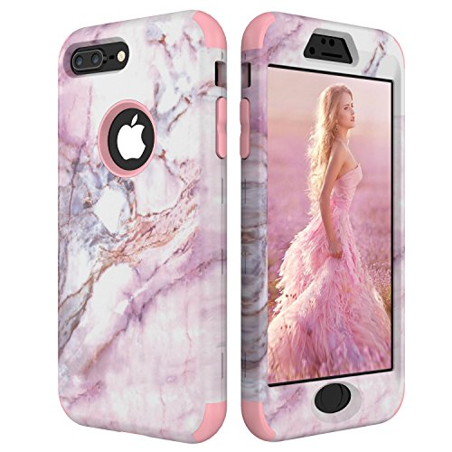 iPhone 8 Plus Case, iPhone 7 Plus Case, Cute Marble Design Three Layer Shockproof [Soft Silicone Inner+ Hard PC Outer Bumper] Protective Cell Phone Cover for iPhone 7/8 Plus 5.5 Inch (Rose Gold) M800 Cover Case