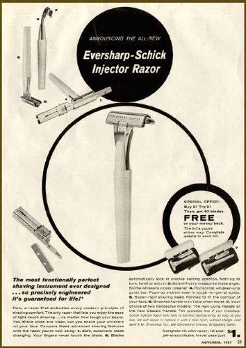1957 AD for The New EVERSHARP-Schick Injector Razor Original Paper Ephemera Authentic Vintage Print Magazine Ad/Article