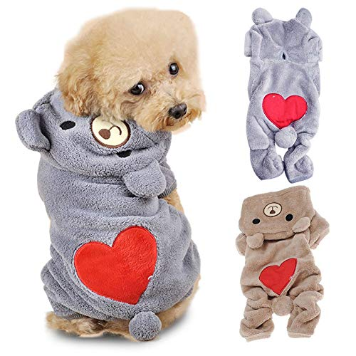 Heboom Velvet Soft Warm Thick Pet Jumpsuit Clothes with Hood Cute Bear Shaped Hooded Apparels with Red Heart Printed for Small Medium Large Dogs Puppy Grey M