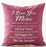 Best Gift For Mother I Love You Mom My Best Friend My Biggest Fan You Are Amazing Pink Cotton Linen Throw Pillow Case Cushion Cover Home Office Decorative Square 18 X 18 Inches