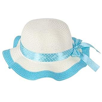"Momo Grow Girls ""Molly"" Blue Trimmed Floppy Sun Hat with Polka Dot Ribbon"