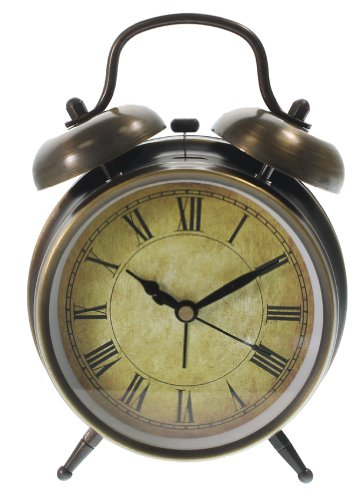 [Twin Bell Alarm Clock with Roman Numerals - Antique Style] (Bell Style Alarm Clock)