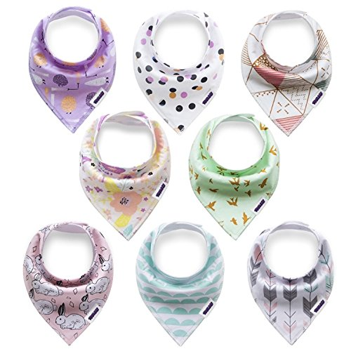 Baby bandana drool bibs for boys and girls, drooling and teething : 100% organic cotton, 8 count variety pack, Zelha baby