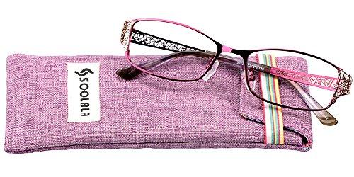 SOOLALA Women's Fashion Designer Hollow Arm Full Rimmed Reading Glasses (Purple, - Cool Glasses Online