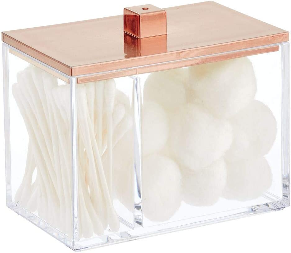 Clear//Rose Gold Bath Salts Balls Rounds 2 Divided Sections Makeup Sponges mDesign Modern Square Bathroom Vanity Countertop Storage Organizer Canister Jar for Cotton Swabs