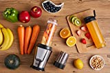 Deik Personal Blender, Smoothie Blender 500 Watt with Travel Lid for Smoothies and Shakes, Coffee Grinder Cup for Coffee Bean, Mixer Blender with 20oz Sport Bottles, BPA Free, Silver