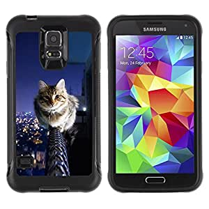 iDesign Rugged Armor Slim Protection Case Cover - Cool City Cat - Samsung Galaxy S5