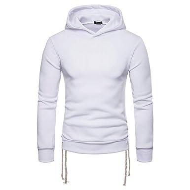Homme Sweat à Capuche Pullover Pulls Hoodie Sweatshirt Hoodie EléGant  Couleur Unie Col Rond Loose Grande e18ad327cc05