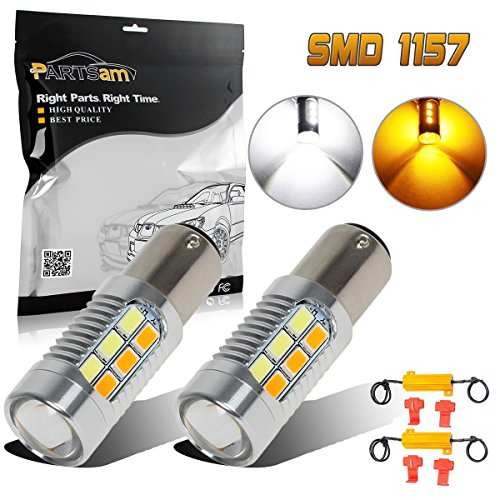 Partsam 2 PCS 1157 1004 94 Switchback Super Power Led Ultra Bright Front Turn Sginal Light White-Amber + 50W-6Ohm Load Resistor