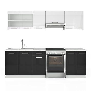 Küchenzeile 240 cm - 7 Schrank-Module frei kombinierbar - Küche ... | {Küchenzeile weiß hochglanz 43}