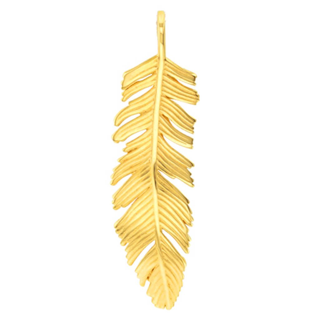 Solid 14k Yellow Gold Polished Feather Charm Pendant