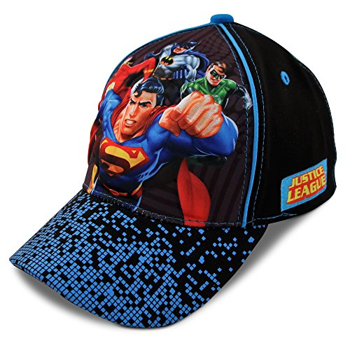 DC Comics Little Boys Assorted Superhero Designs 3D Pop Cotton Baseball Cap, Age 2-7 (Little Boys - Age 4-7 - 53CM, Justice League - -