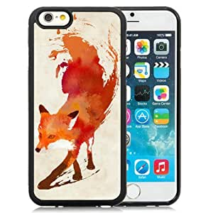 Great Quality iPhone 6 4.7 Inch TPU Case ,Beautiful And Unique Designed Case With Watercolor Fox Animal Oil Painting Black iPhone 6 Cover Phone Case