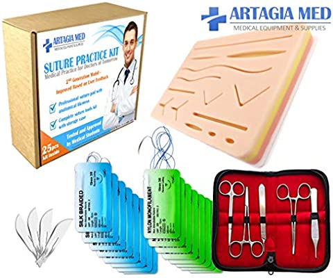 Complete Suture Practice Kit for Suture Training, Including Large Silicone Suture Pad with pre-Cut Wounds and Suture Tool kit (25 Pieces) by ARTAGIA. 2nd Generation Model. (Education Use Only) - 10166266 , B078NZMQKF , 285_B078NZMQKF , 1432928 , Complete-Suture-Practice-Kit-for-Suture-Training-Including-Large-Silicone-Suture-Pad-with-pre-Cut-Wounds-and-Suture-Tool-kit-25-Pieces-by-ARTAGIA.-2nd-Generation-Model.-Education-Use-Only-285_B078NZM