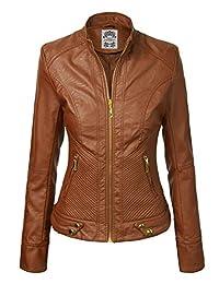 Made by Johnny WJC747 Womens Dressy Vegan Leather Biker Jacket XXL Camel