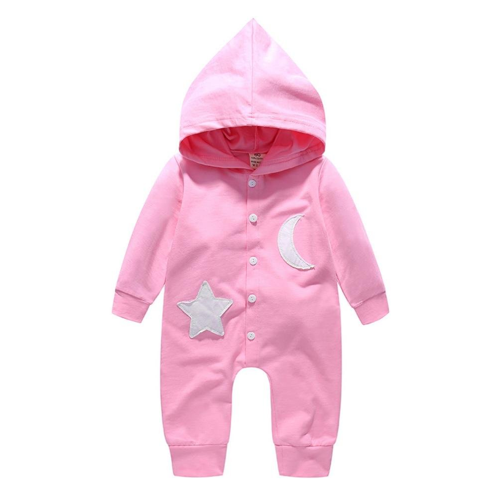 KaiCran Baby Boys Girls Jumpsuit Star and Moon Hoodie Romper Outfit Long Sleeve Lovely Creepers Bodysuit Clothes