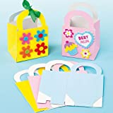 Baker Ross Mini Pastel Gift Bags Made with Strong Card in 3 Assorted Colors for Children to Paint & Decorate for a (Pack of 12)