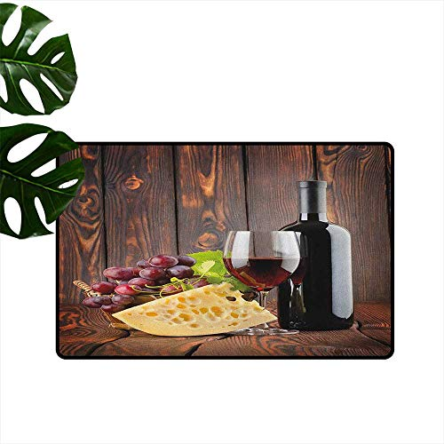 Wine Outdoor Door mat Red Wine Cabernet Bottle and Glass Cheese and Grapes on Wood Planks Print Easy to Clean W35 x L59 Brown Burgundy Cream