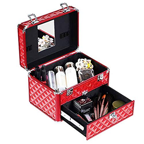 Binlin Makeup Case, Professional Portable Aluminum Cosmetic Storage Organizer for Nail Polish Artist with Drawer and Dividers Crystal Red