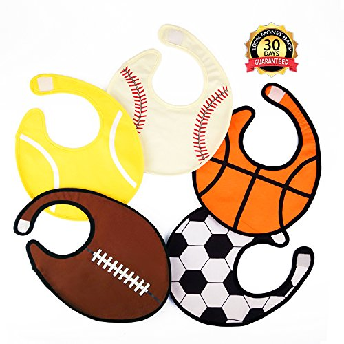 Zebrum Water Resistant Baby Bibs, Highly Absorbent Drooling & Teething Bibs, Large Cute Burp Cloths for Infant Boy and Girl, (5 Packs of Ball Sports)