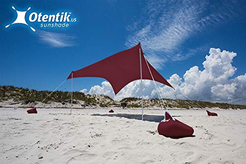 Otentik Beach Sunshade - with Sandbag Anchors - The Original Sunshade Since 2011 (Sangria, Large 8.5 x 9 ft and 6.5 ft Tall - up to 7 People)